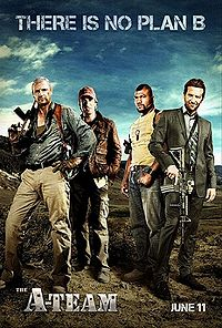 The actors Liam Neeson Bradley Cooper Quinton Jackson Sharlto Copley from the movie The A-Team